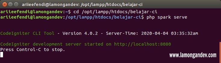 php-spark-serve-Tutorial-install-codeigniter-untuk-pemula-lamongandev.com